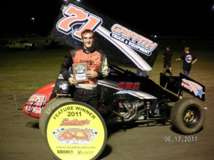 Channin Tankersley in Smiley's Racing Products ASCS Gulf South Region victory lane at Golden Triangle Raceway Park in Beaumont, TX, on Friday night. (ASCS Gulf South photo)