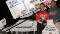 For the second year in a row, a number 11 Sprint Car reached Lucas Oil ASCS presented by K&N Filters National victory lane on the second night of action at Southern New Mexico Speedway.