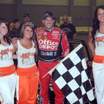 Tony Stewart in victory lane after his victory at Rumble in the Expo. - Jan Dunlap Photo