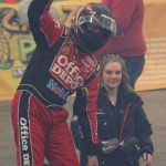 Stewart waves to the crowd after his feature victory at Fort Wayne. - Kevin Lillard Photo
