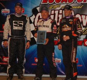 Bryan Stanfill, Tony Stewart, and winner Sammy Swindell after Wednesday night's prelminary feature at the Chili Bowl Nationals - Alan Holland Photo
