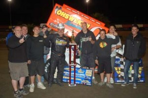 Glenn Stryes and crew in victory lane after winning the Ron Laney Memorial King of 360's feature at East Bay Raceway Park. - Alan Holland Photo
