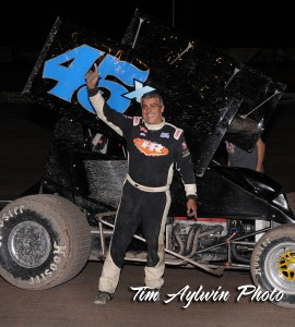 Johnny Herrera took the Preliminary night with at the ASCS 305 Sprint Car Shootout in a Royal Jones owned back up car. Tim Aylwin Photo