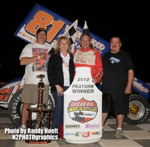 Danny Wood used lapped traffic to his advantage to make the last lap pass to capture the $4,000 payday at Cocopah Speedway in Yuma, Arizona. Photo Credit: Randy Hoeft (N2PHOTOgraphics)