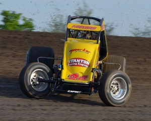 Tracy Hines sideways in hot laps. - Bill Miller Photo