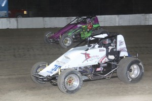 #35 Stuart Brubaker and #3t Tony Beaber in side by side boss non wing 410 sprint feature action. - Action Photos