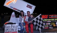 Joe Swanson won the Hoosier Outlaw Sprint Series feature Sunday night at Angola Motorsport Speedway.  Chris Neuenschwander and Bill Tyler followed Swanson over the finish line.