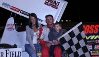 Joe Swanson won the opening night feature for the Auto Value Super Sprints and  Hoosier Outlaw Sprint Series Saturday night at Baer Field Speedway.