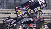 Terry McCarl raced past early leader Jody Rosenboom on lap 23 and went on to win Sunday night's 25 lap Outlaw Sprint feature event at Huset's Speedway.