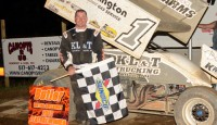 Chad Blonde flew to the feature win at Butler Motor Speedway.  After the conclusion of Hot Laps, a rain shower would delay the start of the racing program.