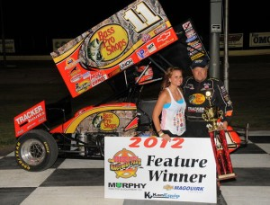 Steve Kinser in victory lane at Dodge City Raceway Park. - TWC Photo