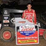 Kyle Larson captured the win in Sunday night's 30-lap POWRi Midget main event at U.S. 36 Raceway in Cameron, MO. - TWC Photo