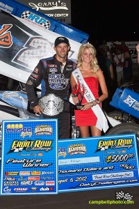 Daryn Pittman in victory lane after winning the Front Row Challenge at Southern Iowa Speedway. - Mike Campbell / campbellphoto.com