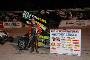 Brian Olson in victory lane after winning the Must See Racing X-Treme Sprint Car Series Joe James/Pat O'Connor Memorial Saturday night at Salem Speedway. - David Sink Photo