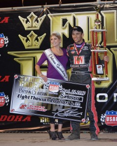 Bryan Clauson in victory lane at the 4-Crown Nationals.   - Bill Miller Photo