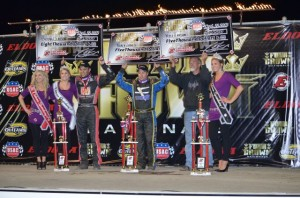 (r to l) Bryan Clauson, Tracy Hines, and Keith Kunz in victory lane at the 4-Crown Nationals. - Bill Miller Photo