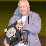 Gas City I-69 Speedway track photographer Larry Kellogg.  Larry retired as the track photographer after the racing program tonight.  Dave Merritt will be the new Gas City I-69 Speedway track photographer.  Bill Miller Photo