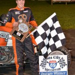 Coleman Gulick in Victory Lane after winning the 25 lap sprint car feature event at the Gas City I-69 Speedway on Friday September 28. - Bill Miller Photo
