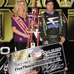 Tracy Hines after winning the sprint car porition of the 4-Crown Nationals.  - Jan Dunlap Photo