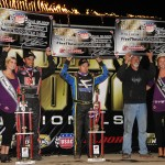 Bryan Clauson, Tracy Hines, and Keith Kunz in victory lane at the 4-Crown Nationals. - Jan Dunlap Photo