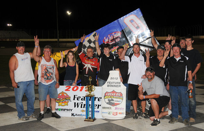 Jeff Swindell with his team after sweeping the weekend at Dodge City Raceway Park. - TWC Photo