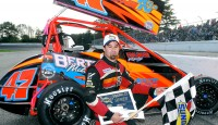 Randy Cabral won the North Eastern Midget Association feature Sunday afternoon at Lee USA Speedway.