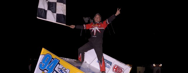 Jeff Swindell does the wing dance following his sweep of the 39th annual Winter Nationals at the Devil's Bowl Speedway. - Tim Aylwin Photo
