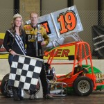 "Tim Neal won the 30 lap ""Rumble Series"" winged outlaw modified midget feature event on Saturday night December 29, 2012 at the Memorial Coliseum Expo Center in Fort Wayne, Indiana. - Bill Miller Photo"