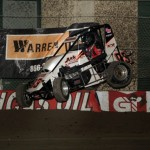 Jake Rosario gets some air during practice sessions at the 2013 Chili Bowl Midget Nationals in Tulsa, Oklahoma on January 7, 2013.  (Serena Dalhamer photo)