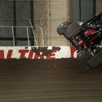 Kevin Bayer flips during practice sessions for the 2013 Chili Bowl Midget Nationals in Tulsa, Oklahoma on January 7, 2013.  (Serena Dalhamer photo)