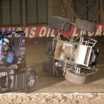 Justin Hendricks (8J) swerves to miss a tumbling Blake Edwards (