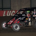 Kyle Larson wins 2013 Chili Bowl Midget Nationals night #1 after running 8th to 2nd in his heat race.  (Serena Dalhamer photo)
