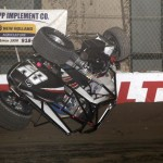 Taylor Simas flips during E feature 2 of the 2013 Chili Bowl Mid