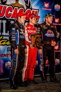 Kyle Larson grabbed Tuesday's Warren CAT Qualifying night victory ahead of Brady Bacon (left) and Tony Stewart (right). Photo Credit: Mike Spivey.