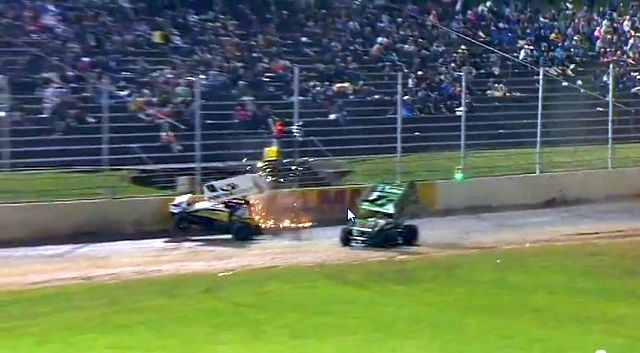 Jonathan Allard (#0) crashes over the finish line with Peter Murphy (#11) just coming up short. - Image courtesy of Western Springs Speedway