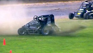 Kyle Larson does a no hands victory doughnut after his victory at Western Springs Speedway. - Image courtesy of Western Springs Speedway.