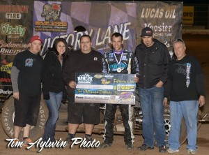 Bryan Clauson in victory lane with is team after winning the second round of the Winter Challenge at Canyon Speedway Park. -  Tim Aylwin Photo