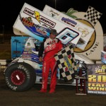 Tim Shaffer won Thrusday night's opening feature for the 2013 East Bay Winter Nationals. - Kenetic Photo