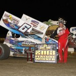Tim Shaffer in victory lane after opening night of the 2013 Winter Nationals at East Bay Raceway Park. - Chad Ruhl Photo