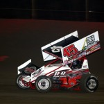 Danny Holtgraver on his way to winning the Saturday night finale at East Bay Raceway Park. - Kenetic Photo