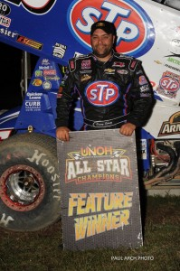 Donny Schatz after winning the first UNOH All Star Circuit of Champions feature of the 2013 season at Bubba Raceway Park. - Paul Arch Photo