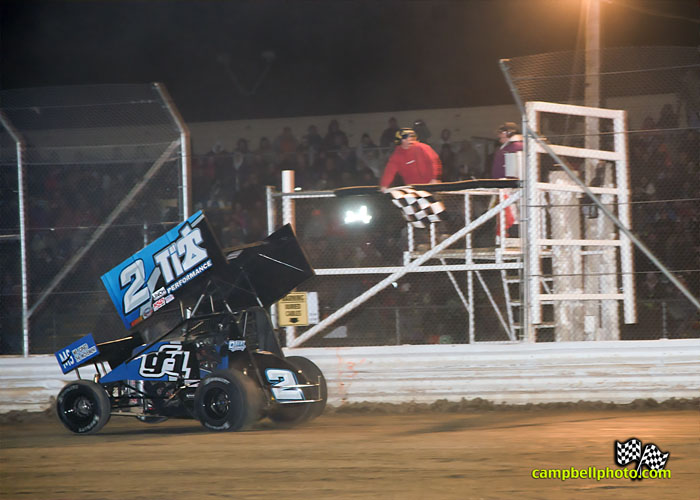 Dale Blaney takes the checkered flag. - Mike Campbell Photo
