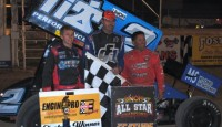 Blaney used patience in lapped traffic and great late race restarts to win Saturday night's UNOH All Star Circuit of Champions feature during the HD Supply Spring Nationals at Attica Raceway Park.