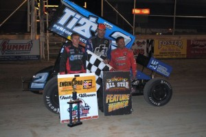 Dale Blaney (center) with second place Sheldon Haudenschild (left) and third place Randy Hannagan (right). - T.J. Buffenbarger Photo