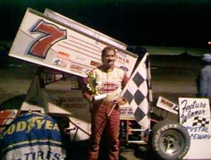 Kevin Huntley in victory lane at Crystal Motor Speedway after winning the All Star Circuit of Champions feature. - T.J. Buffenbarger Photo