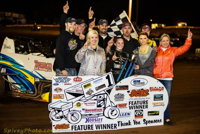 Harli White in victory lane (Mike Spivey Photo)