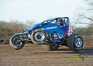 Bryan Clauson wheels up at Gas City I-69 Speedway. - Mike Campbell Photo
