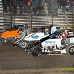 Three wide racing at Gas City I-69 Speedway. - Mike Campbell Photo