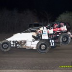 Thomas Meseraull (#17t) and Kevin Thomas, Jr (#17) battle side by side at Gas City I-69 Speedway. - Mike Campbell Photo