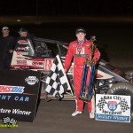 Kevin Thomas, Jr. in victory lane at Gas City I-69 Speedway. - Mike Campbell Photo